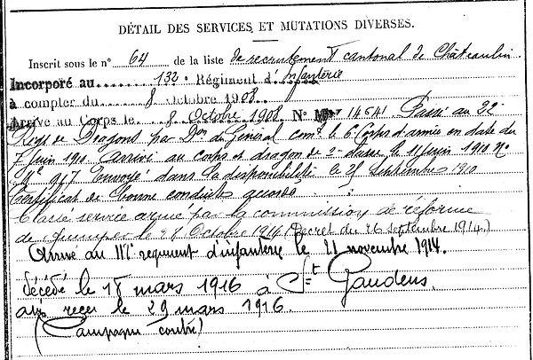mauguen pierr marie ploeven saint gaudens 14-18 Finistère Non Mort France Réformé maladie tuberculose suicide fusillé accident