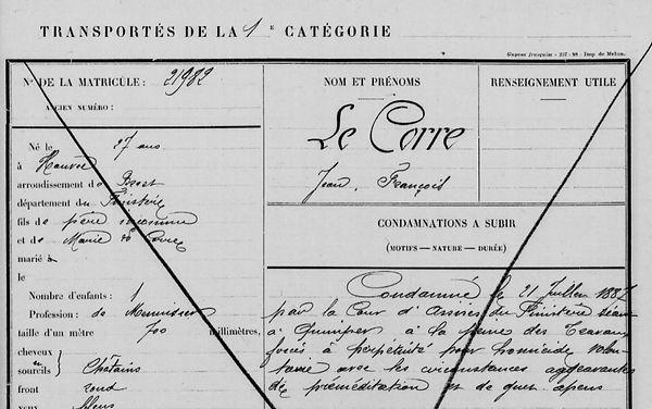 Le Corre Jean François hanvec bagn guyane bagnard