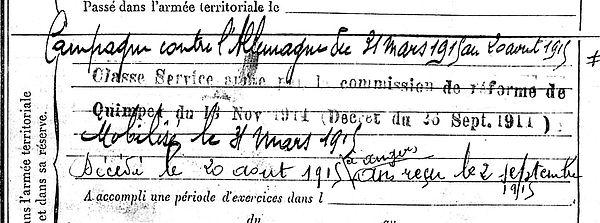 jezequel rene marie plomodiern angers 14-18 Finistère Non Mort France Réformé maladie tuberculose suicide fusillé accident