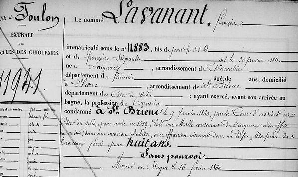 Lavanant François scrignac ploec stephan bagne guyane bagnard