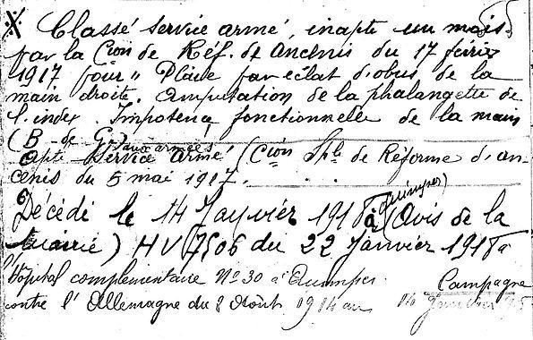 Berrehouc rené plomeur quimper tahure 14-18 Finistère Non Mort France Réformé maladie tuberculose suicide fusillé accident
