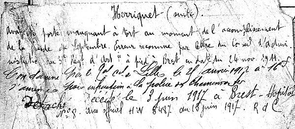 herriquet louis pierre marie joseph bannalec brest 14-18 Finistère Non Mort France Réformé maladie tuberculose suicide fusillé accident