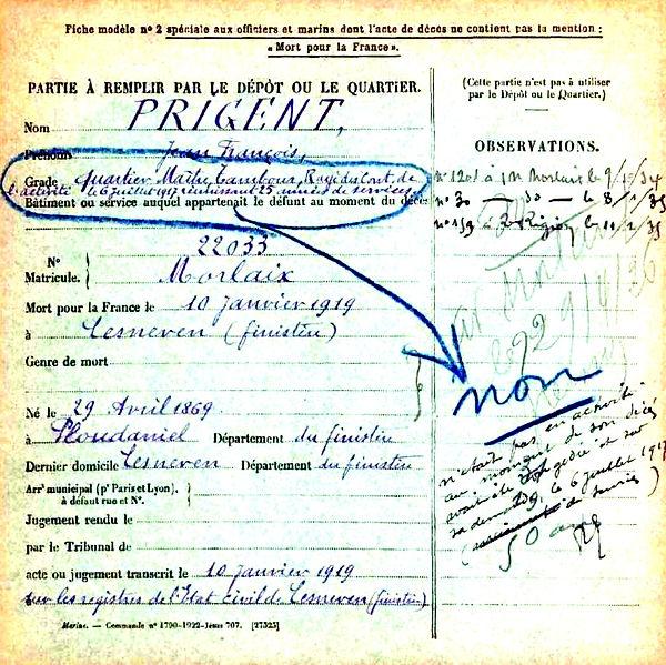 prigent jean françois ploudaniel lesneven 14-18 Finistère Non Mort France Réformé maladie tuberculose suicide fusillé accident