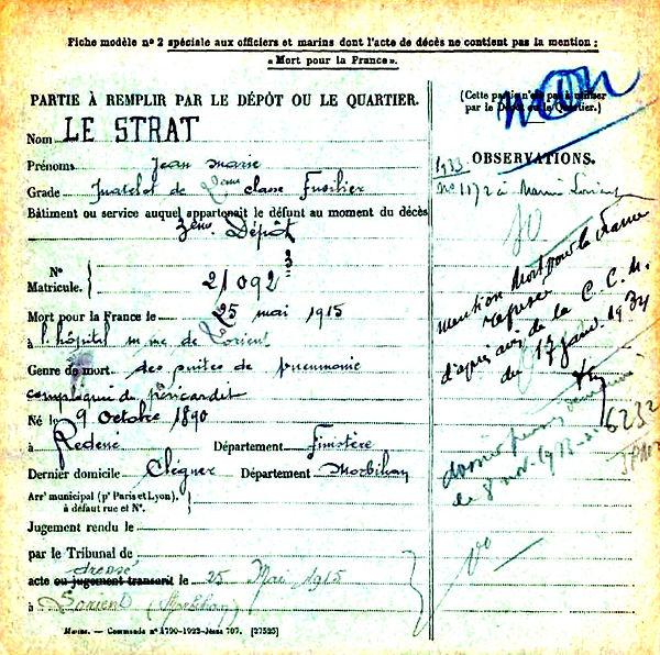 le strat jean marie redene lorient 14-18 Finistère Non Mort France Réformé maladie tuberculose suicide fusillé accident