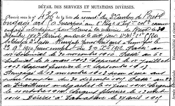 jezequel tugdual marie brest malgache tamatave madagascar 14-18 Finistère Non Mort France Réformé maladie tuberculose suicide fusillé accident