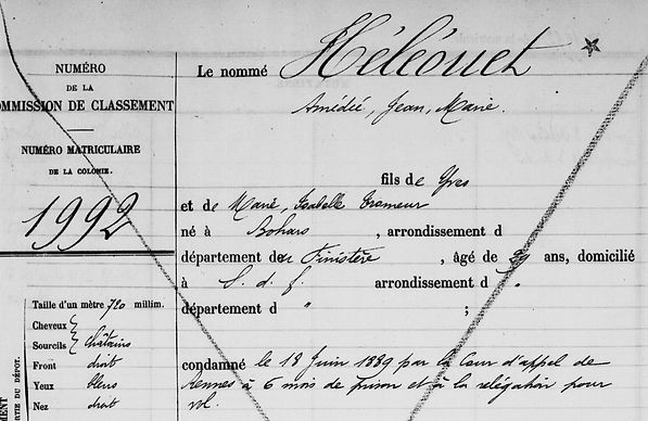 Héléouet Amédée Isabelle Tromeur jean marie bohars brest bagne guyane bagnard finistere
