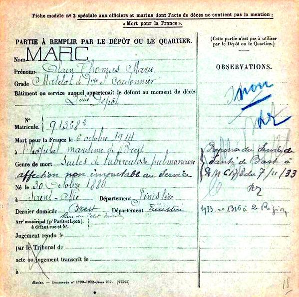 marc alain thomas marie saint nic brest 14-18 Finistère Non Mort France Réformé maladie tuberculose suicide fusillé accident