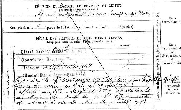 mahe yves tourch quimper 14-18 Finistère Non Mort France Réformé maladie tuberculose suicide fusillé accident