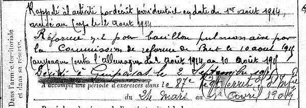 hily paul guipavas 14-18 Finistère Non Mort France Réformé maladie tuberculose suicide fusillé accident