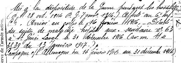 conan andre pierre marie clohars fouesnant saint genis laval 14-18 Finistère Non Mort France Réformé maladie tuberculose suicide fusillé accident