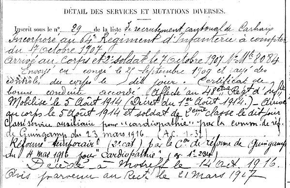 montfort josephlouis plounevezel motreff 14-18 Finistère Non Mort France Réformé maladie tuberculose suicide fusillé accident