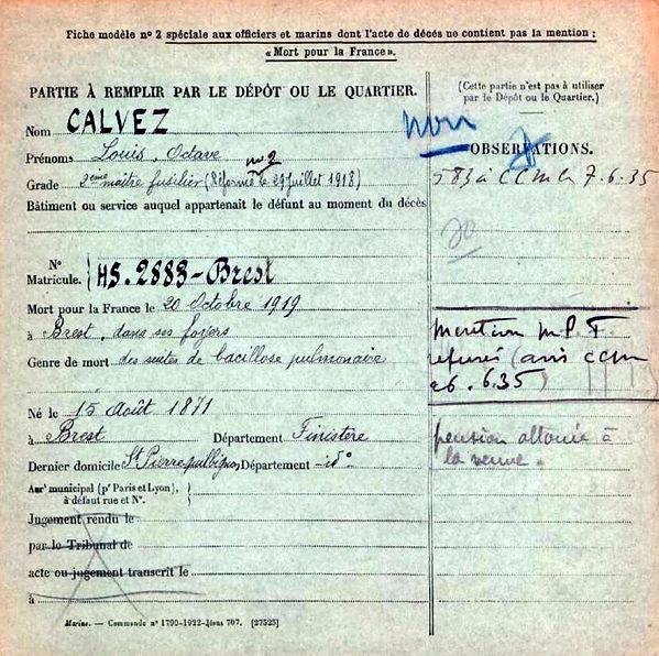 calvez louis octave brest saint pierre quilbignon 14-18 Finistère Non Mort France Réformé maladie tuberculose suicide fusillé accident