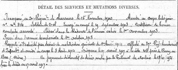 Tilly Guillaue Plouezoc'h Guerre 1914 1918 14-18 Finistère Finistérien Mort pour la France Berry au Bac cote 108 Sapigneul Choléra Moscou Mauchamp