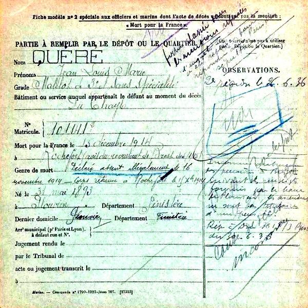 quere jean louis marie plouvien rochefort du chayla 14-18 Finistère Non Mort France Réformé maladie tuberculose suicide fusillé accident