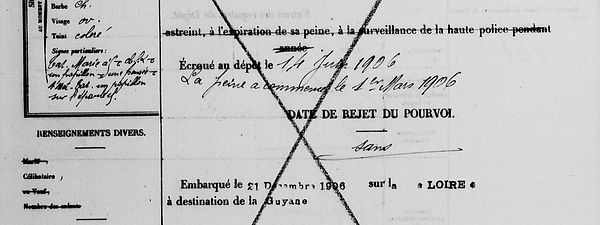 Marzin Eugène Marie plouguerneau uguen bagne guyane bagnard suffrn conseil guerre