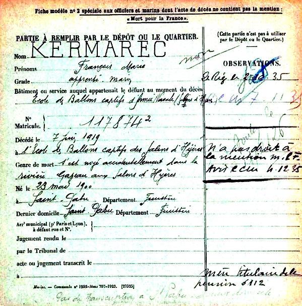 kermarec françois marie saint pabu salains hyeres 14-18 Finistère Non Mort France Réformé maladie tuberculose suicide fusillé accident
