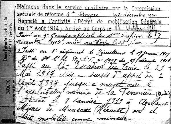 quelvennec yves poullaouen ferroniere minerve azillanet herault 14-18 Finistère Non Mort France Réformé maladie tuberculose suicide fusillé accident