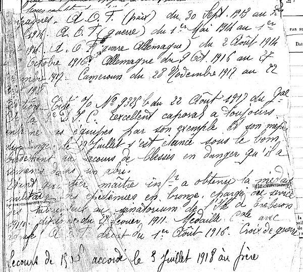 moaligou jean plounevez lochrist cameroun ngaoundere 14-18 Finistère Non Mort France Réformé maladie tuberculose suicide fusillé accident