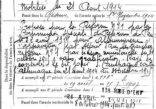 quiniou jean loctidy 14-18 Finistère Non Mort France Réformé maladie tuberculose suicide fusillé accident