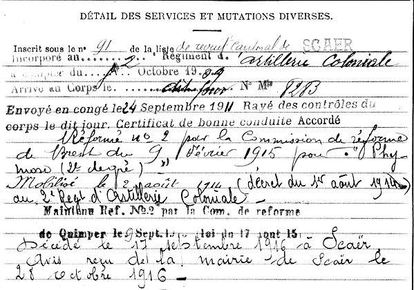 hingant françois marie scaer 14-18 Finistère Non Mort France Réformé maladie tuberculose suicide fusillé accident