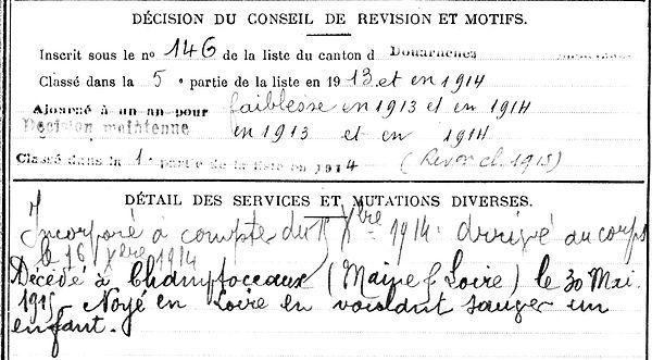 henaff pierre marie pouldergat champtoceaux 14-18 Finistère Non Mort France Réformé maladie tuberculose suicide fusillé accident