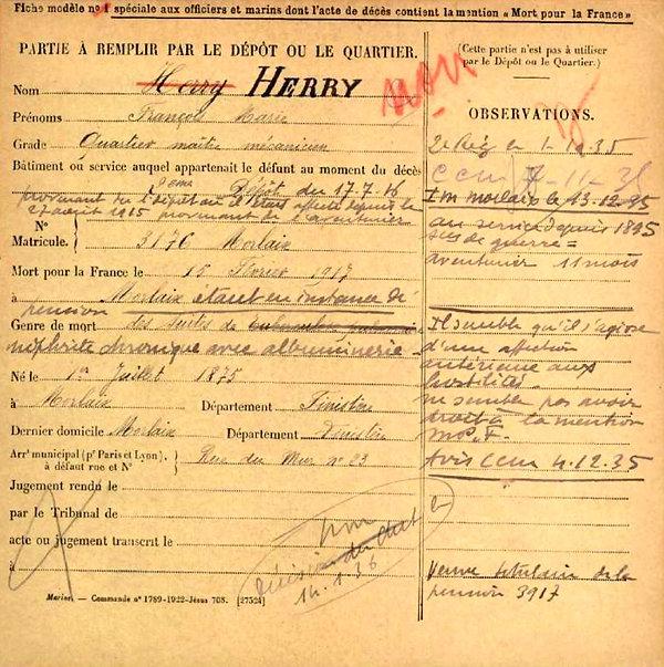 herry françois marie morlaix contre torpilleur aventurier 14-18 Finistère Non Mort France Réformé maladie tuberculose suicide fusillé accident