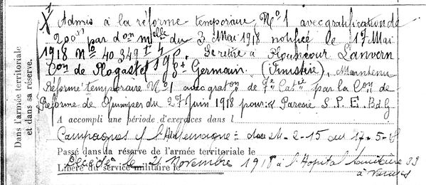 kerbenibin jean marie tremeoc vannes 14-18 Finistère Non Mort France Réformé maladie tuberculose suicide fusillé accident