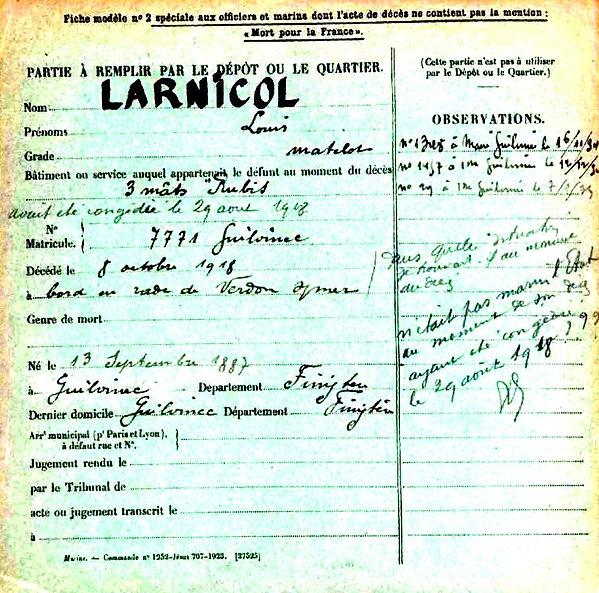larnicol louis guilvinec rubis verdon sur mer 14-18 Finistère Non Mort France Réformé maladie tuberculose suicide fusillé accident