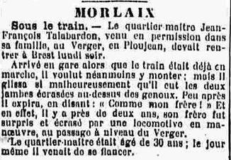 talabardon jean joseph marie saint martin es champs morlaix ploujean 14-18 Finistère Non Mort France Réformé maladie tuberculose suicide fusillé accident