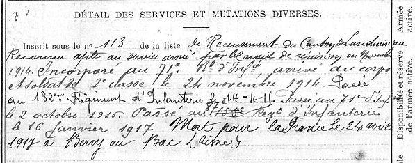 Podeur Jean Marie Plouneventer Guerre 1914 1918 14-18 Finistère Finistérien Mort pour la France Berry au Bac cote 108 Sapigneul Choléra Moscou Mauchamp