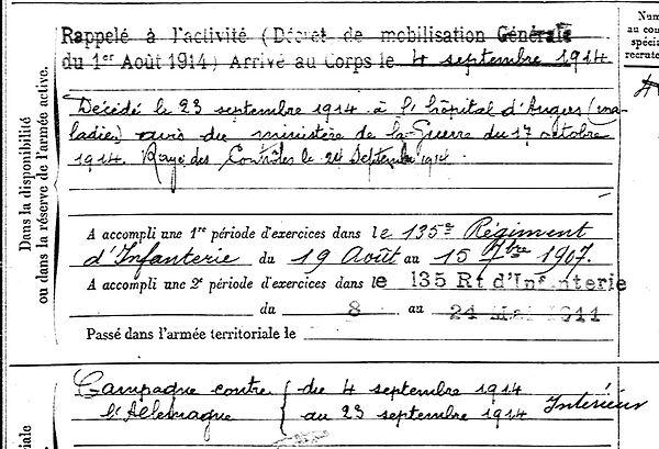 lofficial herve poullaouen angers 14-18 Finistère Non Mort France Réformé maladie tuberculose suicide fusillé accident