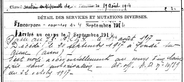thomas guillaume poullaoen cone sur aisne 14-18 Finistère Non Mort France Réformé maladie tuberculose suicide fusillé accident