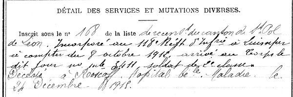 prigent michel roscoff 14-18 Finistère Non Mort France Réformé maladie tuberculose suicide fusillé accident