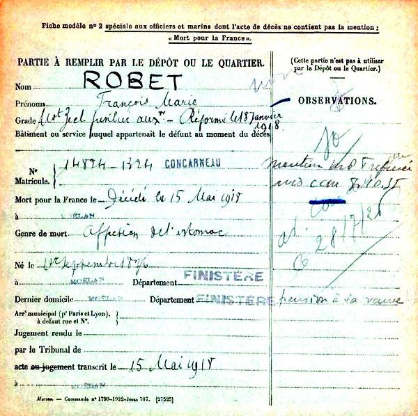robet françois marie moelan 14-18 Finistère Non Mort France Réformé maladie tuberculose suicide fusillé accident