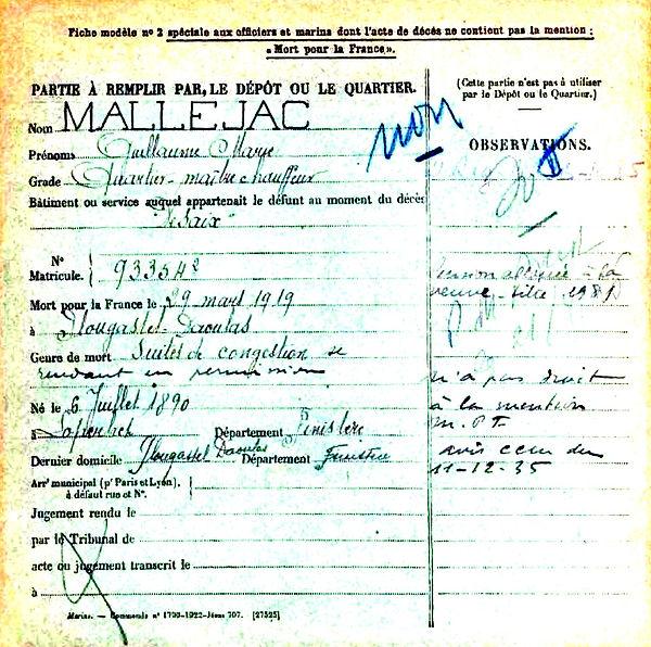 mallejac guillaume marie loperhet croiseur desaix plougastel daoulas 14-18 Finistère Non Mort France Réformé maladie tuberculose suicide fusillé accident