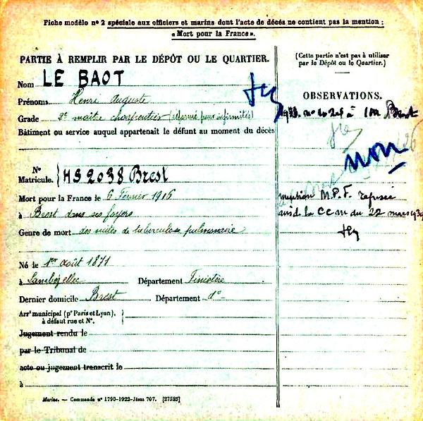 le baot lebaot henri auguste brest lambezellec 14-18 Finistère Non Mort France Réformé maladie tuberculose suicide fusillé accident