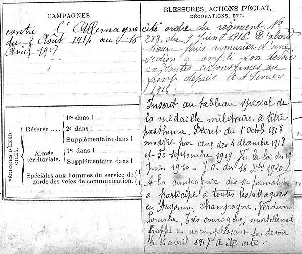 Pors Prigent Marie Plouguin Guerre 1914 1918 14-18 Finistère Finistérien Mort pour la France Berry au Bac cote 108 Sapigneul Choléra Moscou Mauchamp