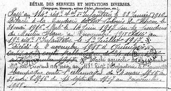 goarin hervé ergue armel quimper 14-18 Finistère Non Mort France Réformé maladie tuberculose suicide fusillé accident