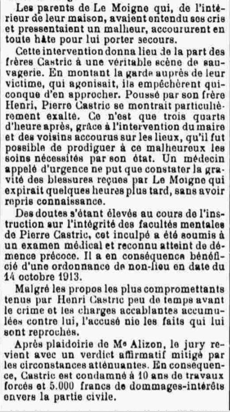 Castric Henri Marie nedelec le moign plomeur bagne guyane bagnard