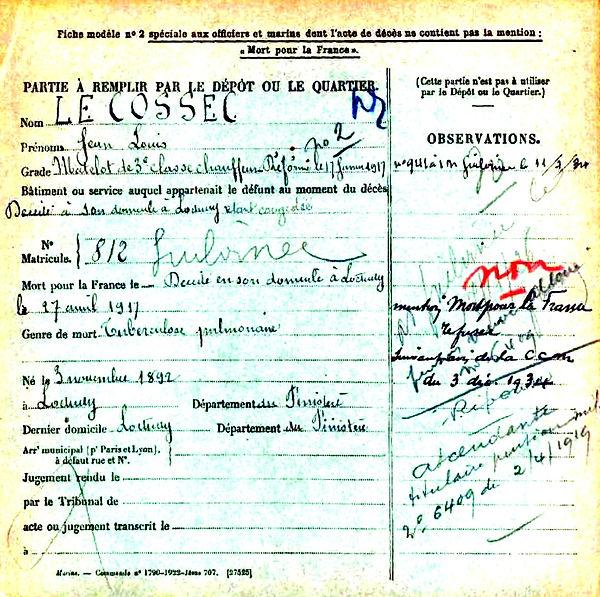 le cossec jean louis loctudy 14-18 Finistère Non Mort France Réformé maladie tuberculose suicide fusillé accident
