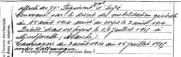 marzin rene plouguerneau montfarville manche 14-18 Finistère Non Mort France Réformé maladie tuberculose suicide fusillé accident