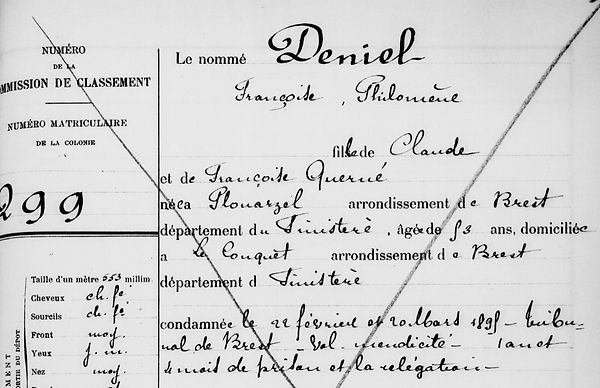 Deniel Françoise Philomène plouarzel le conquet querné quere bagne bagnard finistere