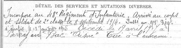 Tanguy Auguste Guiclan Guerre 1914 1918 14-18 Finistère Finistérien Mort pour la France Berry au Bac cote 108 Sapigneul Choléra Moscou Mauchamp