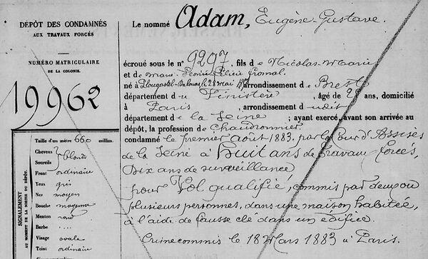 Adam Eugène Gustave plougastel daoulas bagne guyane bagnard