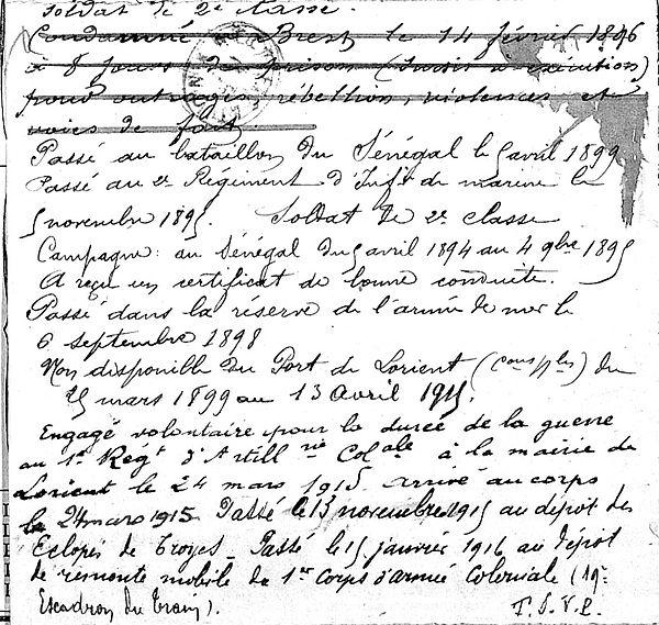 beguec guillaume victor landerneau lorient louvencourt troyes eclopes 14-18 Finistère Non Mort Franc