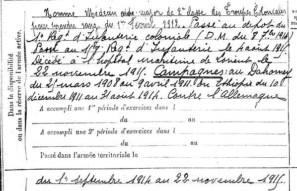 kerneis christophe louis marie medecin dahomey ethiopie brest lorient 14-18 Finistère Non Mort France Réformé maladie tuberculose suicide fusillé accident