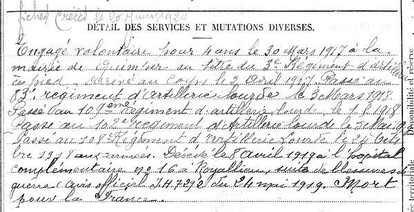 quintin nicolas pierre marie por launay compiegne royallieu 14-18 Finistère Non Mort France Réformé maladie tuberculose suicide fusillé accident