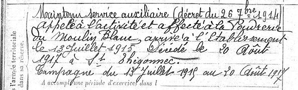 Abhervé Gueguen Jean Marie Landivisiau Poudrerie Moulin Blanc Saint Thegonnec Guerre 14-18 Finistère Non Mort France Réformé maladie tuberculose suicide fusillé accident