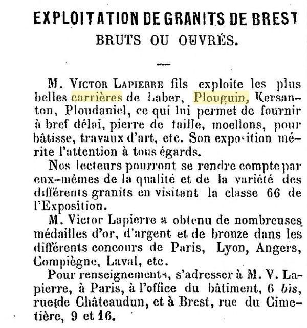 Victor Lapierre plouguin patrimoine histoire tailleur pierre granit