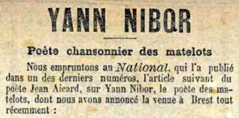 Yann Nibor poète chansonnier des matelot